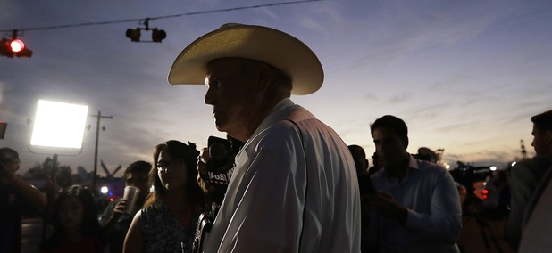 Wilson County Sheriff Joe Tackitt Jr. provides an update to the media at the scene of a shooting at the First Baptist Church of Sutherland Springs, Monday, Nov. 6, 2017, in Sutherland Springs, Texas.