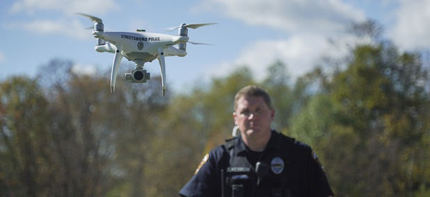 Streetsboro Officer Scott Hermon pilots the department's first drone in Streetsboro, Ohio.