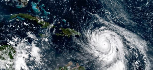 This NOAA GOES-16 satellite image taken Sept. 19, 2017, shows Hurricane Maria southeast of Puerto Rico.
