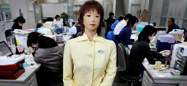 Japan's robot Saya, developed by Hiroshi Kobayashi, Tokyo University of Science professor, works as a receptionist at the university's front desk in Tokyo, Japan, Wednesday, March 11, 2009.
