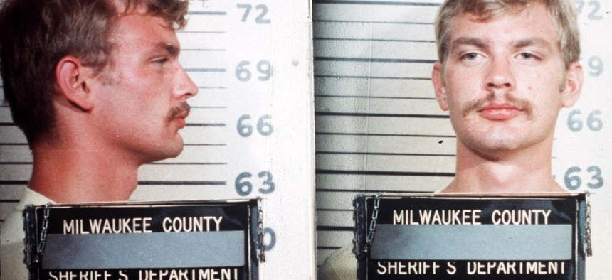 1982 Milwaukee county sheriff's department mugshot of serial killer Jeffrey Dahmer.
