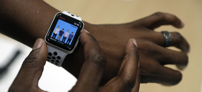 The new Apple Watch Series 3 is displayed in the showroom after the new product announcement at the Steve Jobs Theater on the new Apple campus on Tuesday, Sept. 12, 2017, in Cupertino, Calif.