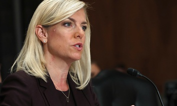 Kirstjen Nielsen testifies during a Senate Homeland Security and Governmental Affairs committee hearing on her nomination to be Department of Homeland Security Secretary, Wednesday, Nov. 8, 2017.
