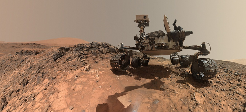 NASA's Curiosity Rover studies the Martian surface.
