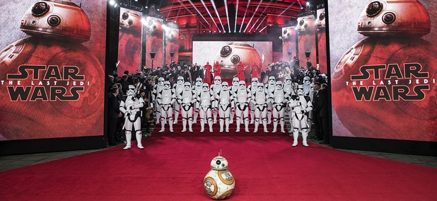 BB-8 and Stormtroopers pose for photographers ahead of the premiere of the film 'Star Wars: The Last Jedi' in London, Tuesday, Dec. 12th, 2017.