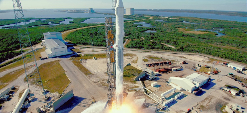 The SpaceX Falcon 9 rocket with the Dragon spacecraft launches from Space Launch Complex 40 at Cape Canaveral, Fla., on Friday, Dec. 15, 2017.