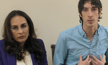 James Damore, right, a former Google engineer fired in 2017, speaks at a news conference while his attorney, Harmeet Dhillon, listens, Monday, Jan. 8, 2018, in San Francisco.