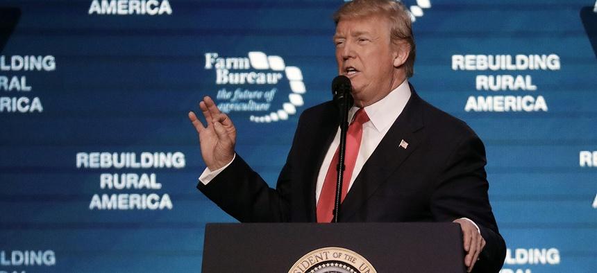 President Donald Trump speaks at the American Farm Bureau Federation annual convention Monday, Jan. 8, 2018, in Nashville, Tenn.