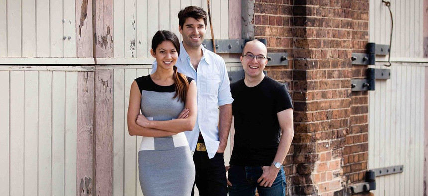 Melanie Perkins with her co-founders Cliff Obrecht and former Google executive Cameron Adams