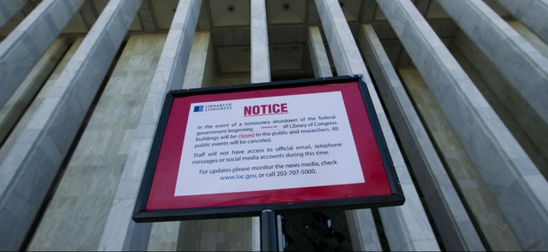 A closure sign stands outside of the Library of Congress in Washington on Saturday, Jan. 20, 2018.