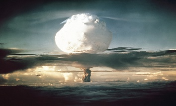 The mushroom cloud from Ivy Mike (codename given to the test) rises above the Pacific Ocean over the Enewetak Atoll in the Marshall Islands on November 1, 1952 at 7:15 am.