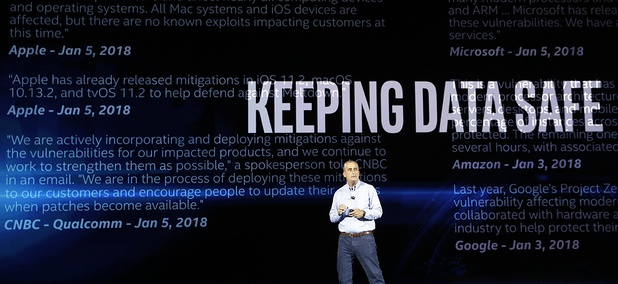 Intel CEO Brian Krzanich delivers a keynote speech at CES International Monday, Jan. 8, 2018, in Las Vegas.