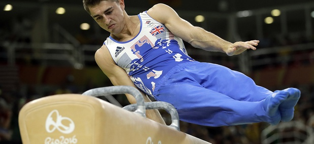 Britain's Max Whitlock performs on the pommel horse during the artistic gymnastics men's apparatus final at the 2016 Summer Olympics in Rio de Janeiro.