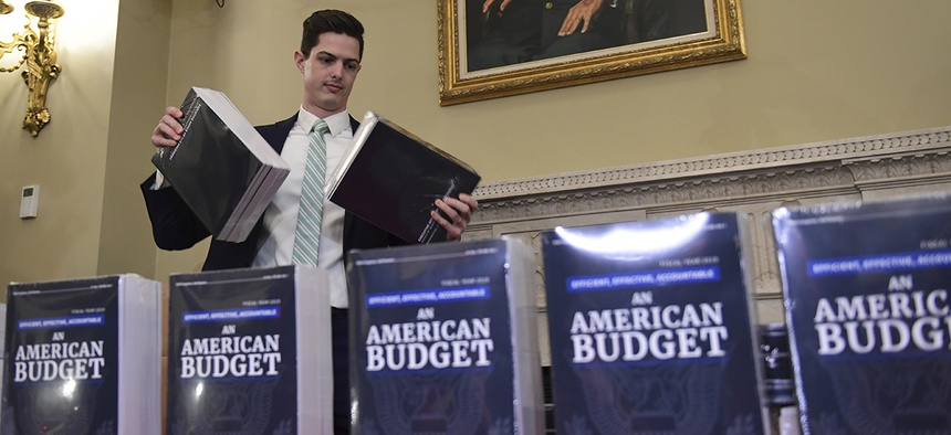 James Knable helps to unpack copies of the President's FY19 Budget after it arrived at the House Budget Committee office on Capitol Hill in Washington, Monday, Feb. 12, 2018.
