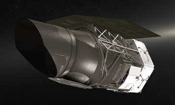 An illustration of NASA's Wide-Field Infrared Survey Telescope (WFIRST), planned to fly in the mid-2020s.