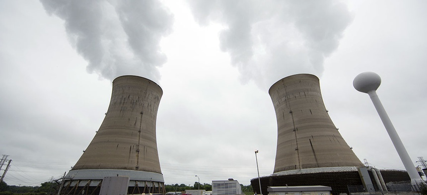 Cooling towers at the Three Mile Island nuclear power plant in Middletown, Pa.