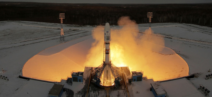 A Russian Soyuz 2.1b rocket carrying Meteor M satellite and additional 18 small satellites, lifts off from the launch pad at the new Vostochny cosmodrome outside the city of Tsiolkovsky.