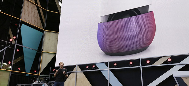 Google vice president Mario Queiroz gestures while introducing the new Google Home device during the keynote address of the Google I/O conference Wednesday, May 18, 2016, in Mountain View, Calif.