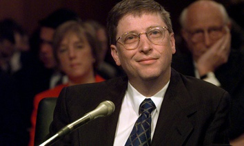 Microsoft President Bill Gates prepares to testify on Capitol Hill Tuesday, March 3, 1998.