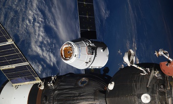 The SpaceX Dragon capsule arrives at the International Space Station on Wednesday, Aug. 16, 2017.