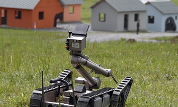 Robot vehicle ELAP, is presented during the European Land Robot show in Hammelburg, southern Germany.