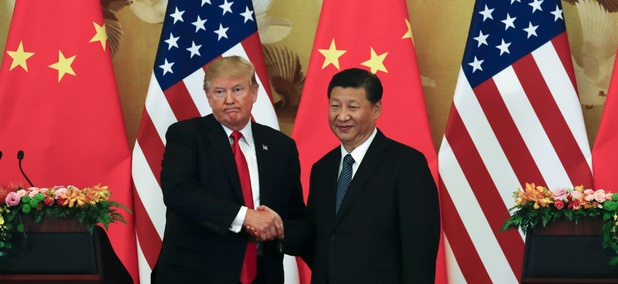 President Donald Trump and Chinese President Xi Jinping at the Great Hall of the People in Beijing, November 9.