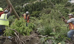 Public Works Sub-Director Ramon Mendez, wearing a hard hat at left, works with locals who are municipal workers, from right, Eliezer Nazario, Tomas Martinez and Angel Diaz as they install a new post to return electricity in Coamo, Puerto Rico.