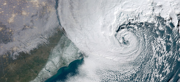 This satellite image provided by NOAA shows a powerful nor'easter winter storm moving up the U.S. eastern seaboard on Thursday, Jan. 4, 2018.