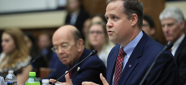 NASA Administrator Jim Bridenstine with Commerce Secretary Wilbur Ross, left, testifies before Congress.