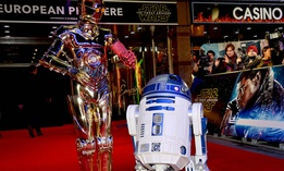 "R2-D2 and C-3PO at the premiere of ""Star Wars: The Force Awakens""."