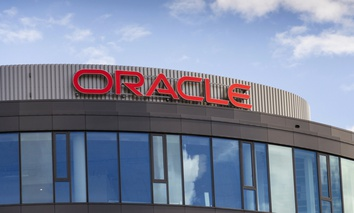 An Oracle corporation logo on the building of the Czech headquarters on June 18, 2016 in Prague.