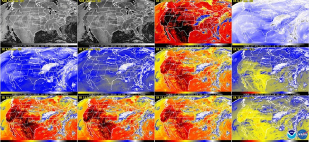 This  multiple panel image shows a snapshot of the continental U.S. and surrounding oceans from some of the Advanced Baseline Imager channels at 2:02 p.m. EDT on July 29, 2018.