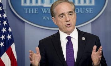 David Shulkin, then-Veterans Affairs Secretary, announces the department will adopt a commercial electronic health records product at the White House June 5, 2017.