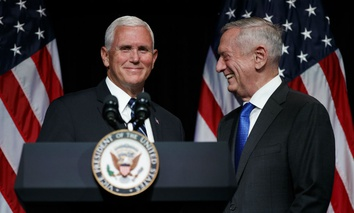Secretary of Defense Jim Mattis introduces Vice President Mike Pence during an event on the creation of a United States Space Force Aug. 9 at the Pentagon.