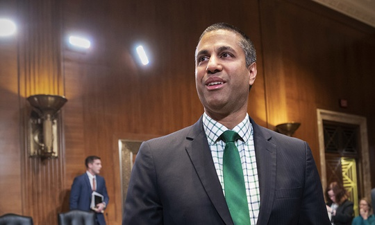 Ajit Pai, chairman Federal Communications Commission, prepares to testify on Capitol Hill.