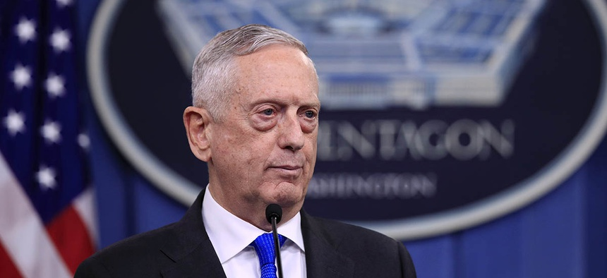 Secretary of Defense Jim Mattis speaks to reporters during a news conference at the Pentagon, Tuesday, Aug. 28, 2018.