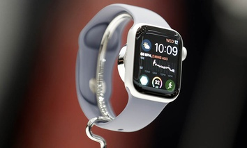 The new Apple Watch 4 is on display at the Steve Jobs Theater during an event to announce new products Wednesday, Sept. 12, 2018, in Cupertino, Calif.