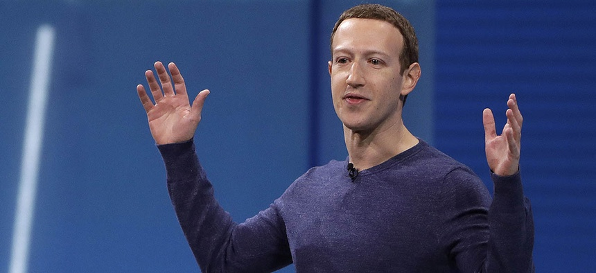 Facebook CEO Mark Zuckerberg makes the keynote address at F8, Facebook's developer conference in San Jose, Calif.