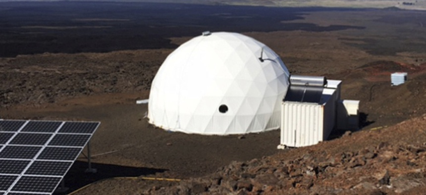 Six carefully selected scientists entered this geodesic dome called Hawaii Space Exploration Analog and Simulation, or HI-SEAS located 8,200 feet above sea level on Mauna Loa on the island of Hawaii, Thursday, Jan. 19, 2017.