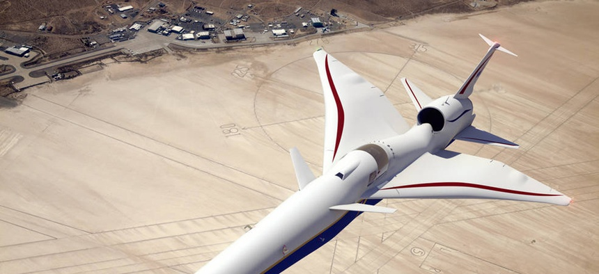 Illustration of the X-59 QueSST as it flies above NASA's Armstrong Flight Research Center in California.