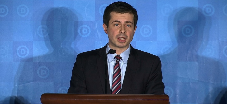 Pete Buttigieg, the mayor of South Bend, Ind., is seen at the Democratic National Committee Winter Meeting in Atlanta.