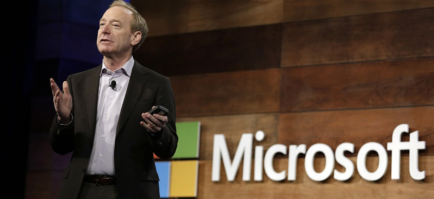 Microsoft president Brad Smith speaks at the annual Microsoft shareholders meeting Wednesday, Nov. 29, 2017.