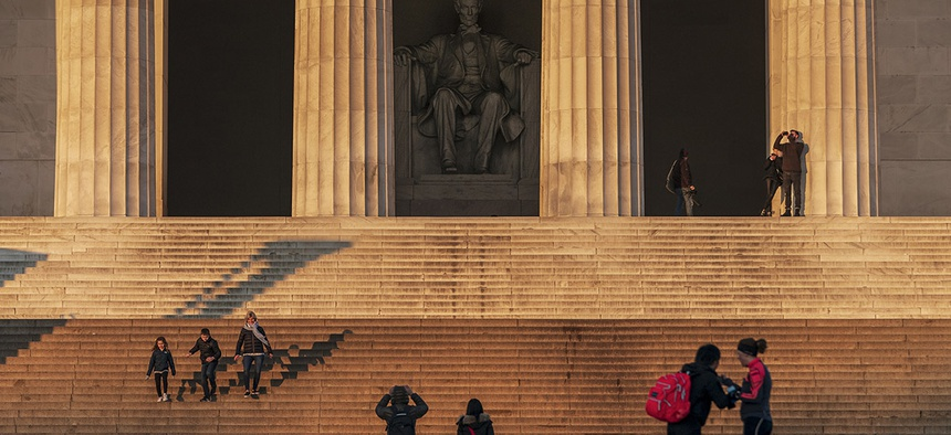 The Lincoln Memorial is seen Thursday, Dec. 27, 2018, in Washington, during a partial government shutdown.