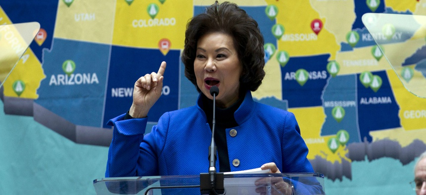 Transportation Secretary Elaine Chao speaks during a major infrastructure investment announcement at transportation headquarters in Washington, Dec. 11, 2018.