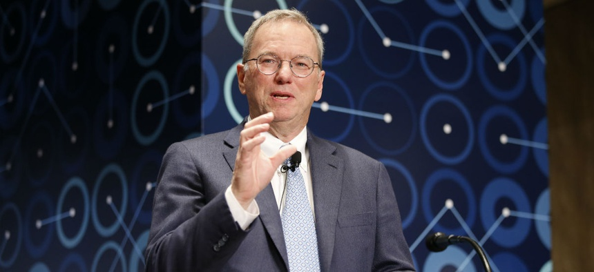 Eric Schmidt speaks at a press conference ahead of the Google DeepMind Challenge Match in Seoul, South Korea, in 2016.