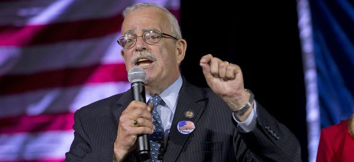 Congressman Gerry Connolly, D-11th, gestures during an election party in Falls Church, Va., in 2016.