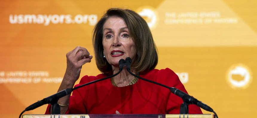 House Speaker Nancy Pelosi, D-Calif., speaks during the U.S. Conference of Mayors winter meeting Jan. 23 in Washington.
