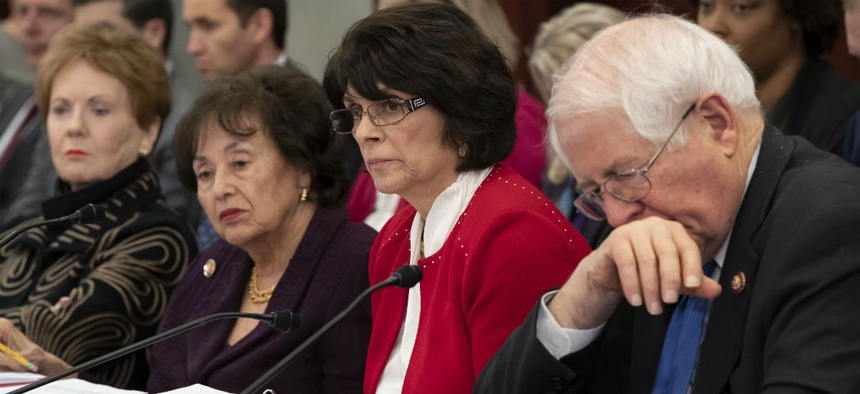 From left, Reps. Kay Granger, R-Texas,  Nita Lowey, D-N.Y.,  Lucille Roybal-Allard, D-Calif., and  David Price, D-N.C., listen as a bipartisan group of House and Senate bargainers meet to craft a border security compromise to avoid another shutdown.