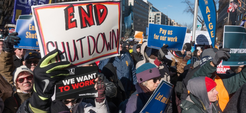 A protest of government shutdown by furloughed as well as unpaid working federal employees, union members, contractors and supporters at rally AFL-CIO Jan. 10.