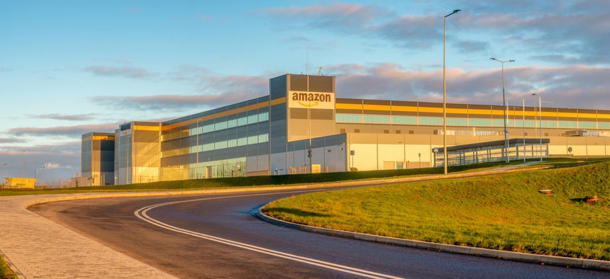 An Amazon logistics center in Poland.